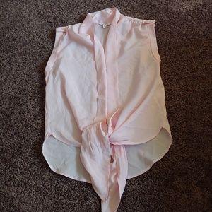 NWOT Candies semi sheer pink front tie blouse